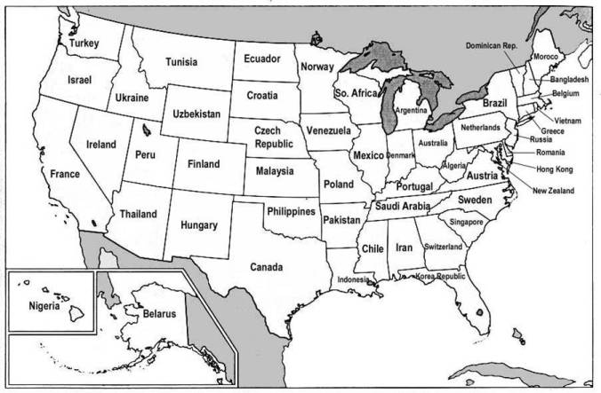 map of us states labeled. Each state is labeled with a